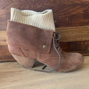 Dr. Scholl's Shoes - Dr Scholls Leather Suede Booties with Knit Cuff